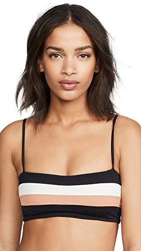 LSpace Women's Rebel Stripe Bikini Top, Black/Cream/Chestnut, Large