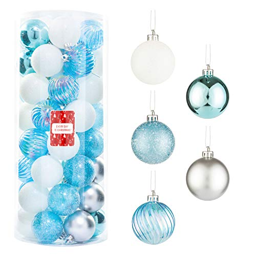 "Every Day is Christmas 50ct 57mm/ 2.24"" Christmas Ornaments, Shatterproof Christmas Tree Ornaments Set, Christmas Balls Decoration (Silver & Blue)"