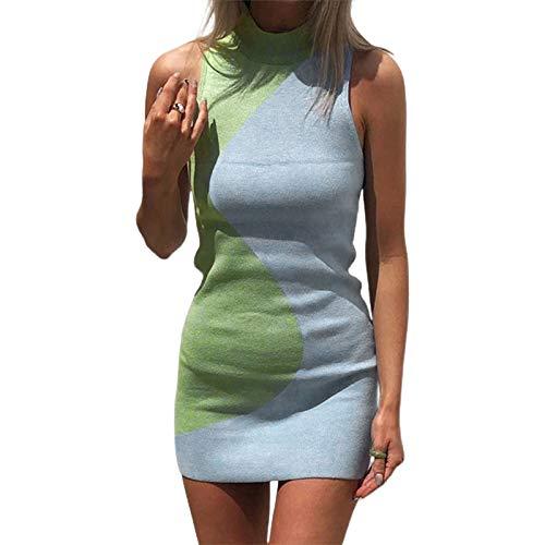 Mujeres Sexy Halter cuello de punto vestido de verano sin mangas bodycon mini vestido casual Y2k corto E Girl Streetwear