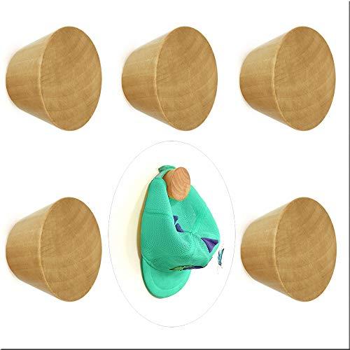 5 ganchos de madera natural para colgar abrigos, sombreros, bolsos, toallas (5 unidades)