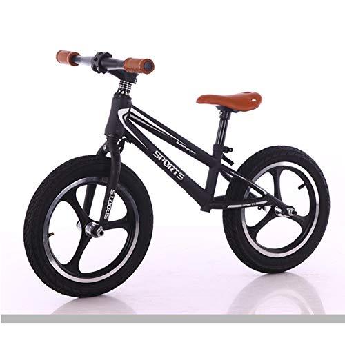 JLXJ Bicicleta Sin Pedales Equilibrio 14 Pulgadas Equilibrio Bicicleta para Grandes Niño Niños, Blanco Negro Sin Pedal Bicicleta de Entrenamiento de Empuje para Niños Grandes de 110-140 Cm de Altura