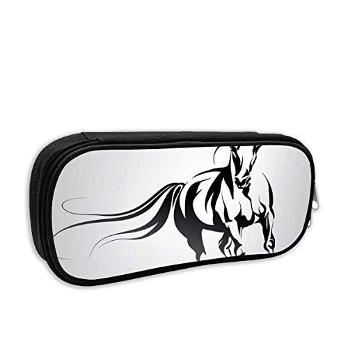 Schule Bleistift Fall Mustang Silhouette des laufenden Pferdes Pony Kopf Reiten Wild Race Line Tattoo Stift Tasche Büro Briefpapier Tasche für Schule & Bürobedarf