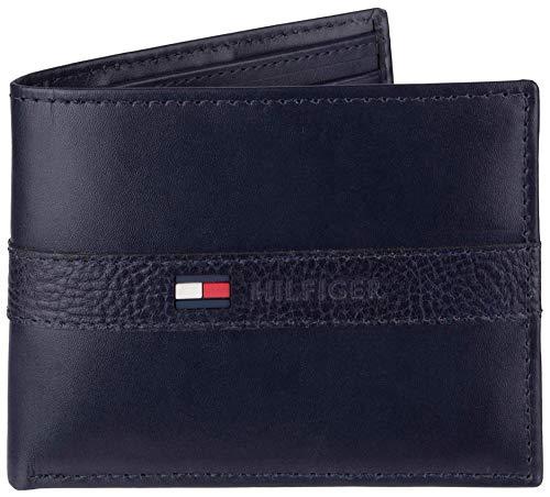 Tommy Hilfiger - Billetera para Hombre con 6 Bolsillos para Tarjetas de crédito y Ventana extraíble, Azul Marino (Azul) - 31TL22X062