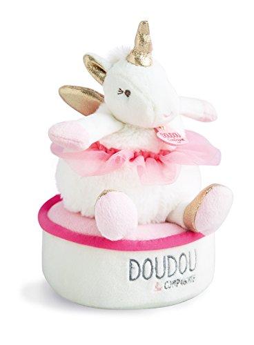 Doudou et Compagnie - Doudou Boîte à Musique Fille - Lucie La Licorne - 17 cm - Rose - DC3316