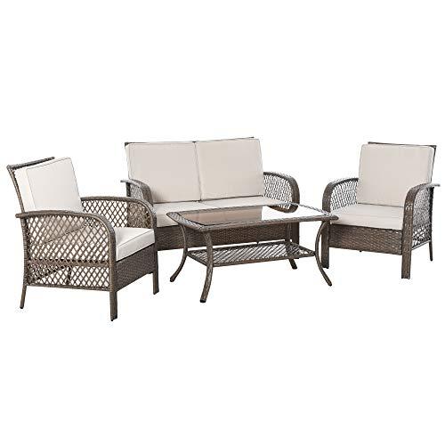 Outsunny Conjunto de 4 Muebles de Jardín de Ratán PE Sillón Sofá Doble y Mesa de Café con Cojines Lavable para Exterior Terraza Patio Marrón y Caqui