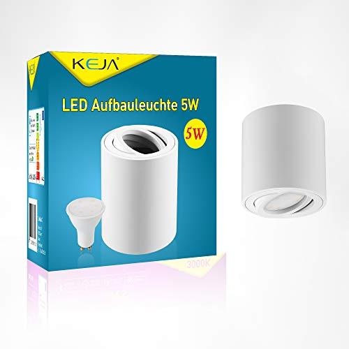 LED Deckenleuchte Aluminium rund weiss Schwenkbar Inkl. 5W GU10 LED Leuchtmittel Warmweiß 420lm LED Deckenspot Deckenstrahler Aufbauspot