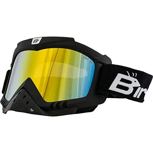 Birdz Eyewear Toucan Motorcycle ATV Ski Padded Goggles with Detachable Nose Guard & ReflecTech Red Mirror Lenses