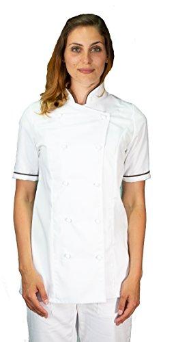 tessile astorino Bordado gratuito – Chaqueta de cocinero de cocina – Casaca Chef de mujer de manga corta – Blanco y marrón – Fabricado en Italia Blanca y Marrón, Mujer XL