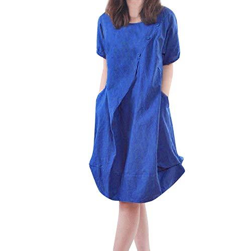 Best Buy! EOWEO Dress Skirt,2019 Anniversary Celebration Women Casual Loose Dress Cotton Linen Tunic Summer Long Beach Sundress BU/L(Large,Blue)