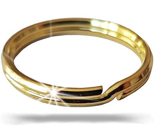 Fuchs Schlüsselringe | 50mm - 10 Stück | gehärteter Stahl | Robust | goldfarben | Außendurchmesser 50mm | magnetisch | Ring für Schlüssel, Schlüsselanhänger, Auto, Basteln, Schlüsselring Set