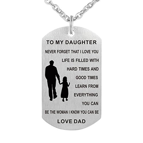 Dad Mum To Son Daughter Dog Tag Necklace Military Jewelry Never Forget I Love You Dogtags Pendant Love Gift (Dad to daughter never)