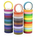Fodlon Washi Tapes Pack, Washi Tapes Pastel Arcoiris para Bullet Journal, Cintas Adhesivas Decorativas de Colores para Manualidades y Artesanía