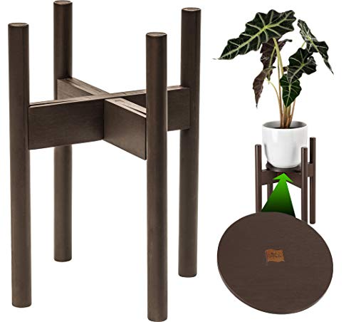 ZPirates Plant Stand for Indoor Plants - Planter Tray Included - Adjustable Size Fits 8 9 10 11 12 Inches Plant Pots - Mid Century Modern Plant Decor - Brown-Bronze Bamboo Wood