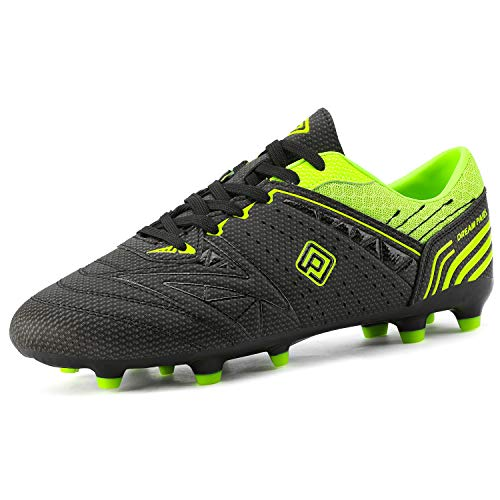 DREAM PAIRS 160859-M Men s Sport Flexible Athletic Outdoor Cleats Football Boots Soccer Shoes Black N.Green Size 10 US  9 UK