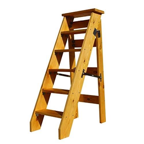 XiuHUa Stap kruk-Houten multifunctionele huishoudelijke vouwladder, ruimtebesparende enkelzijdige 6-verhaal plank bestrating trap kruk (grootte 120X78CM) Stap kruk