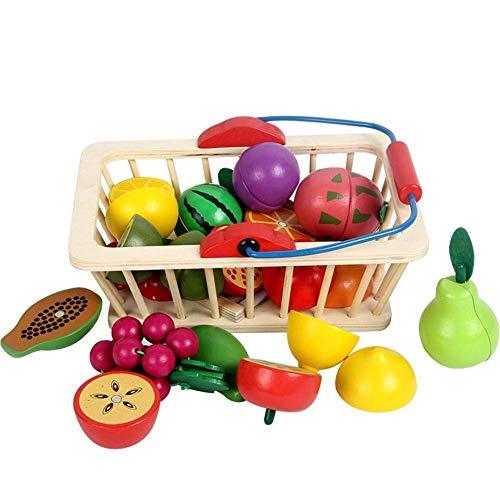 Barm Gioca a Giocattoli Alimentari Taglio di Legno Set di Cibo con Cestino della Spesa Taglia Frutta e Verdura Cucina Fai Finta di Giocare Giocattoli Alimentari Giocattoli educativi precoci per