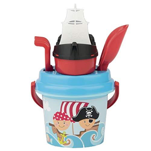 Simba 107114082 - Pirat Baby Eimergarnitur, 5 Teile, Eimer, Sieb, Boot, Schaufel, Rechen, Höhe 11cm, Durchmesser 14cm