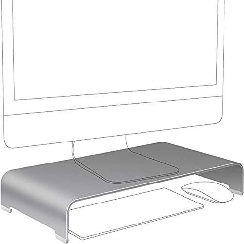 Cutfouwe Soporte para Monitor,Soporte para TV, Estante De Almacenamiento Versátil para El Hogar, Oficina,Soporte para Monitor De PC,Soporte De Aleación De Aluminio,Plata,42x22x6cm