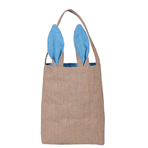 sunshineBoby Jute Geschenk Tasche Ostern Hasenohren Tasche Tote Handtasche Wristlets Clutches Bag, HäSchen SüßIgkeits Taschen Kaninchen Ohr Geschenk Verpackungs Tasche Einkaufsbeutel (Hellblau)