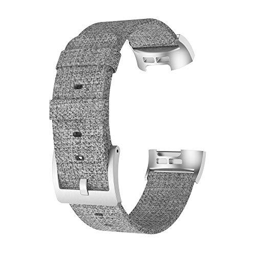 Luckhome Uhrenarmband Serie Lederarmband Ersatband Mit Edelstahl Metall Schließe Classic Armband Ersatz Band ,Ersatzgewebtes Canvas-Uhrenarmband Wrist Strap + Film für Fitbit Charge 3(Grau)