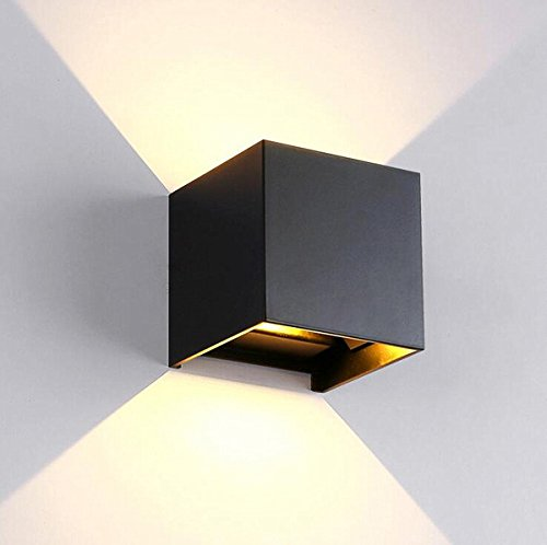 Lampes Modernes De Lampe De Mur De Lumière De Cube De L'applique LED De Mur De 7W Imperméables (Color : Black)