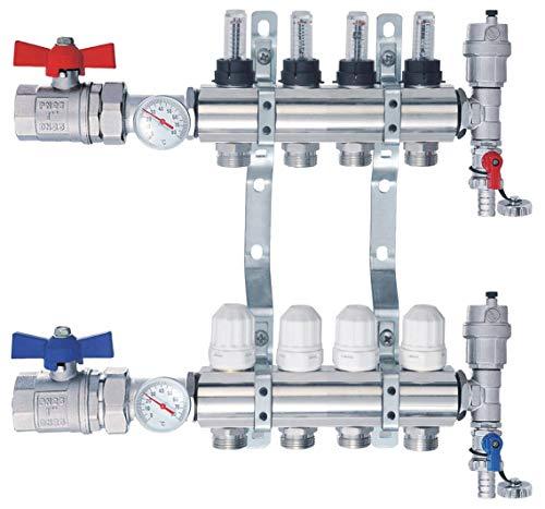 Nordic Tec Distribuidor de circuito de calefacción con válvula de bola, medidor de flujo y termómetro con 4 circuitos de calefacción (4 circuitos de calefacción)