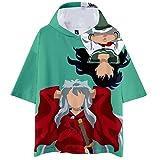 Inuyasha Camiseta Populares de Color 3D Impresión Verano Manera de la Camiseta con Dibujos de Dibujos Animados de Cuello Redondo Tops Sayo (Color : A15, Size : XS)
