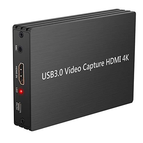 LiNKFOR Scheda Acquisizione Video HDMI a USB 3.0 con HDMI Loop Out Video Grabber Dongle Cattura Video Gioco 4K 30Hz 1080P HDMI a USB3.0 con Ingresso Microfono Uscita Audio per Sistema Windows Linux OS