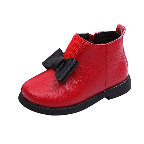 IGEMY_baby Igemy Enfants Bottes Filles Kid Filles Hiver Chaud Bowknot Cuir Martin Short Bottes Chaussures Rouge Red UK:6.5