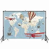 Fondo de fotografía de cumpleaños de bebé 220x150cm fondo de avión de globo aerostático NIVIUS PHOTO Vinyl Photo Booth W-2077