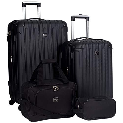 Travelers Club Midtown Hardside 4-Piece Luggage Travel Set, Black