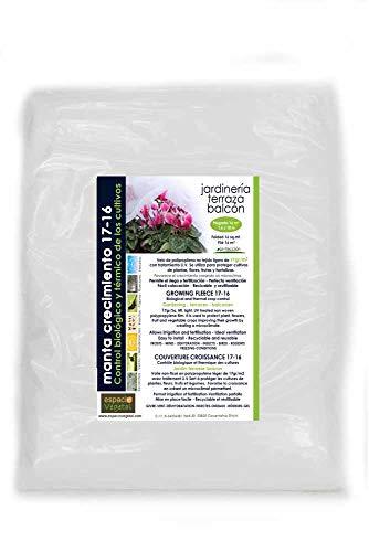 MALLA ANTIHELADA 17gr. Plegada de 16m². Medidas 1,6 x 10m. Protege de bajas temperaturas los cultivos de plantas, flores, hortalizas y frutas.