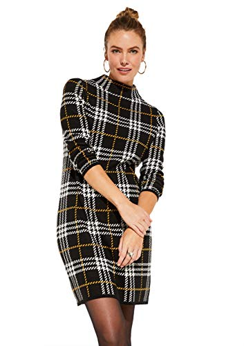 comma Casual Identity Damen Strickleid mit klassischem Karomuster Black Big Check 40