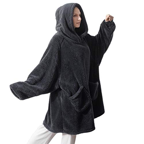 Bedsure Batamanta Mujer Polar Invierno - Bata Manta para Hombre con Capucha, Sudadera Manta con Mangas, Hoodie Blanket de Tejido Felpa Suave con Bolsillo Frontal, Gris Negro, 95x85