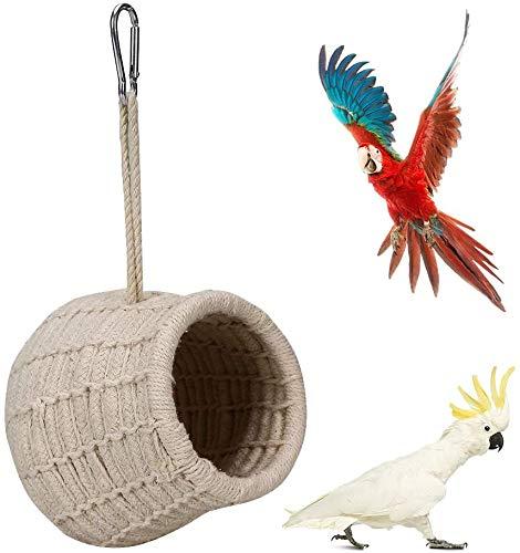 Nido hecho a mano para pájaros, pequeños animales nido casa cama, loros tejido de algodón cajas de nido pequeño juguete para periquitos, periquito, accesorios de jaula de pinchos canarios