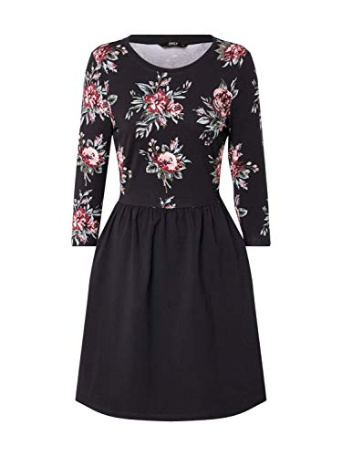 ONLY Damen ONLAMBER Amy 3/4 AOP Dress JRS Kleid, Black, S