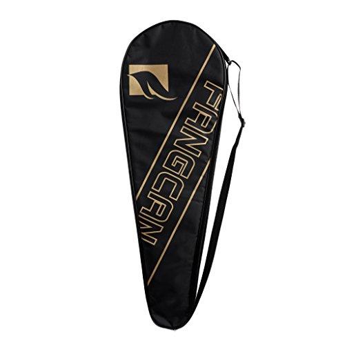 SaniMomo Portable Badminton Racket Case Full Covered Schulter Soft Cover Tragetaschen - Schwarz