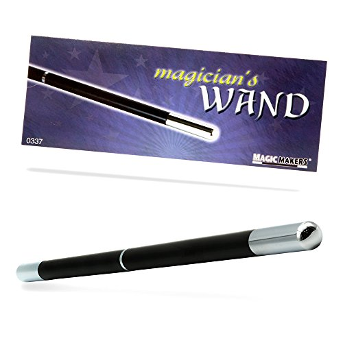 Magic Makers Pro Model Magician's Wand Black and Chrome - 13.5 Inches Real Wood with Metal Tips