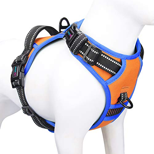 PHOEPET 2019 No Pull Dog Harnesses for Small Dogs Reflective Adjustable Front Clip Vest with Handle 2 Metal Rings 3 Buckles [Easy to Put on & Take Off](S, Orange)