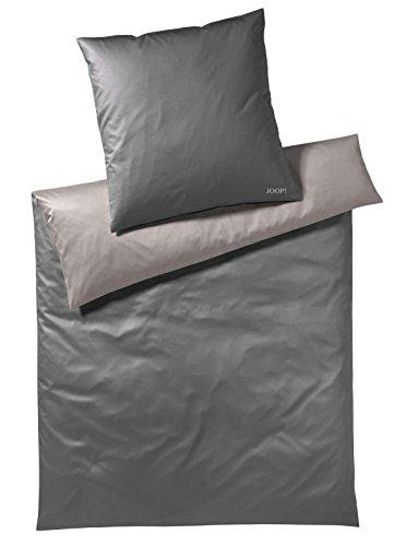 Joop! Mako-Satin Kissenbezug einzeln Micro Pattern 70x90cm, Farbe Smoke / 100% Baumwollbettwäsche mit Reißverschluss/Edler Bettbezug aus hochwertigen Materialien