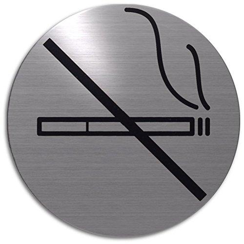 Xaptovi Türschild Rauchen Verboten | Ø 82 mm Rund | metallic silber | Piktogramm | schild | hinweisschild