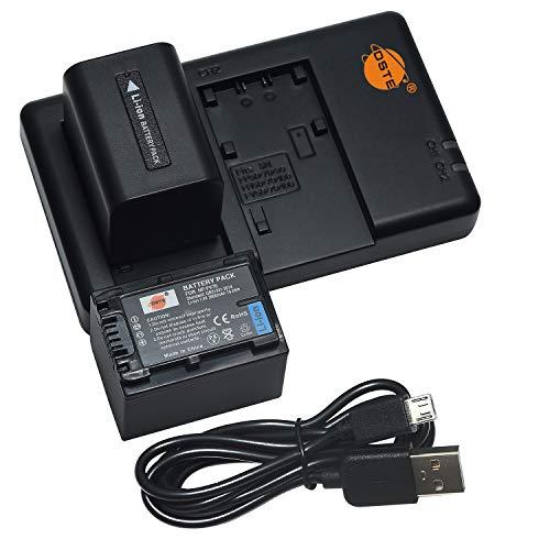 DSTE 2PCS NP-FV70(2600mAh/7.4V) Batería Cargador Compatible para Sony DCR-SR15,SR21,SR68,SR88,SX15,SX21,SX44,SX45,SX63,SX65,SX83,SX85,FDR-AX100,HDR-CX105,CX110,CX115,CX130,CX150,CX155 Cámara