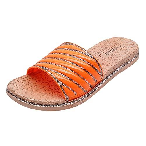 URIBAKY - Sandali da donna estivi, con plateau, con cristalli, Arancione (arancione), 39 EU