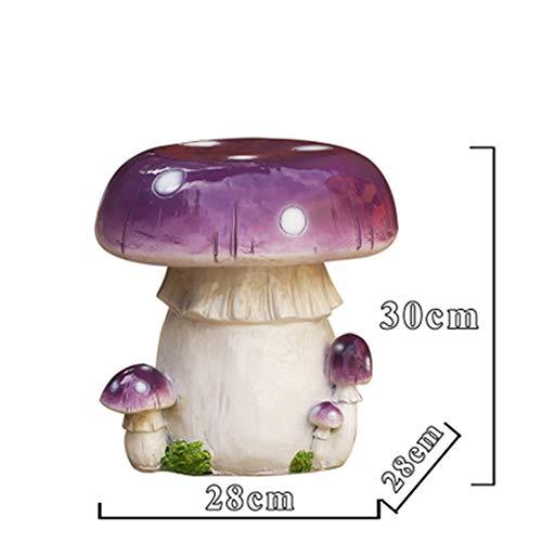 Yuanyuanliu Bunte Pilz Hocker Und Stühle Fiberglas-Skulptur Garten Terrasse Dekoration Artikel Karikatur Beiläufige Dekoration (Color : Purple)