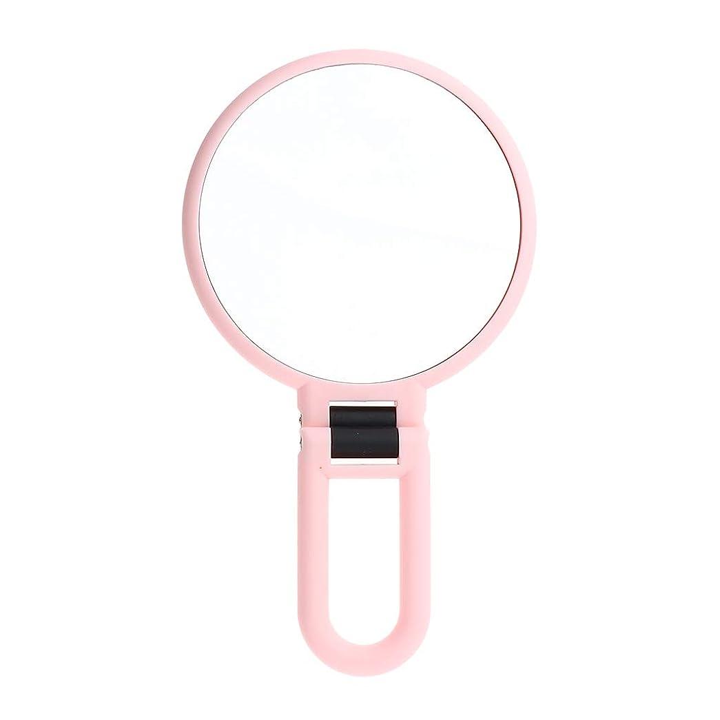 眼窓敗北P Prettyia メイクアップミラー 拡大鏡 両面鏡 手鏡 ピンク 旅行 携帯便利 2タイプ選べ - 5倍