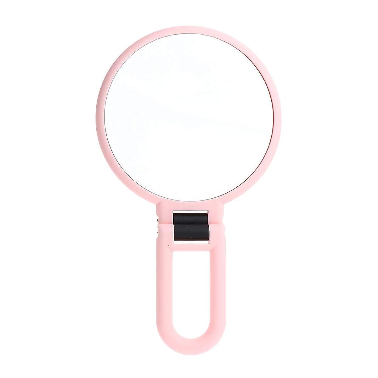 入り口貨物卑しいP Prettyia メイクアップミラー 拡大鏡 両面鏡 手鏡 ピンク 旅行 携帯便利 2タイプ選べ - 5倍