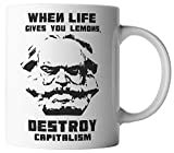 vanVerden Tasse - Karl Marx Destroy Capitalism Kapitalismus DDR - beidseitig Bedruckt - Geschenk Idee Kaffeetassen mit Spruch, Tassenfarbe:Schwarz