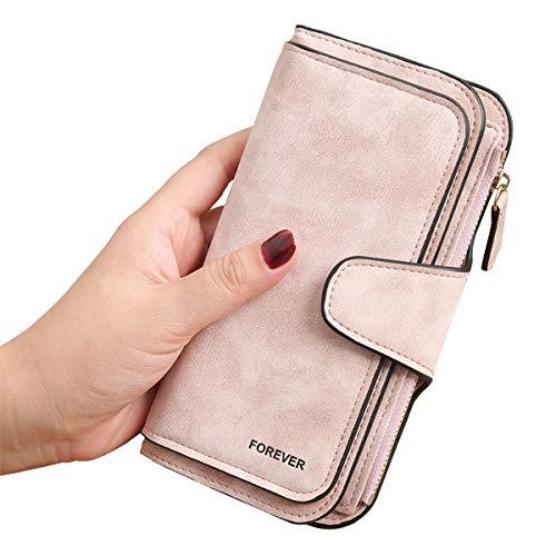 3 PCS Gran Capacidad Cartera de Cuero de Mujer, Bloqueo RFID Monedero de Piel para Señora, Larga Billetera de Mujer con Bolsillo de Cremallera y Correas de Muñeca (Rosa)