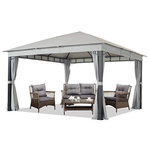 Gartenpavillon 4x4m ALU Premium ca. 220g/m² Dachplane wasserdicht Pavillon 4 Seitenteile Gartenzelt hellgrau ca. 9x9cm Profil