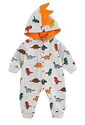 5. VILOVE Newborn Baby Cartoon Dinosaur Hooded Onesie